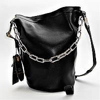 Женская сумочка замша черного цвета с цепочкой RRI-300955, фото 1