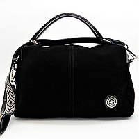 Превосходная женская сумочка из натуральной замши черного цвета ВВВ-200259, фото 1