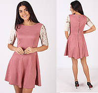 38137daabff85ff Нарядное короткое платье, замш на трикотаже, рукава паетка р.42,44,