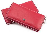 Женский большой кожаный кошелёк на молнии красного цвета