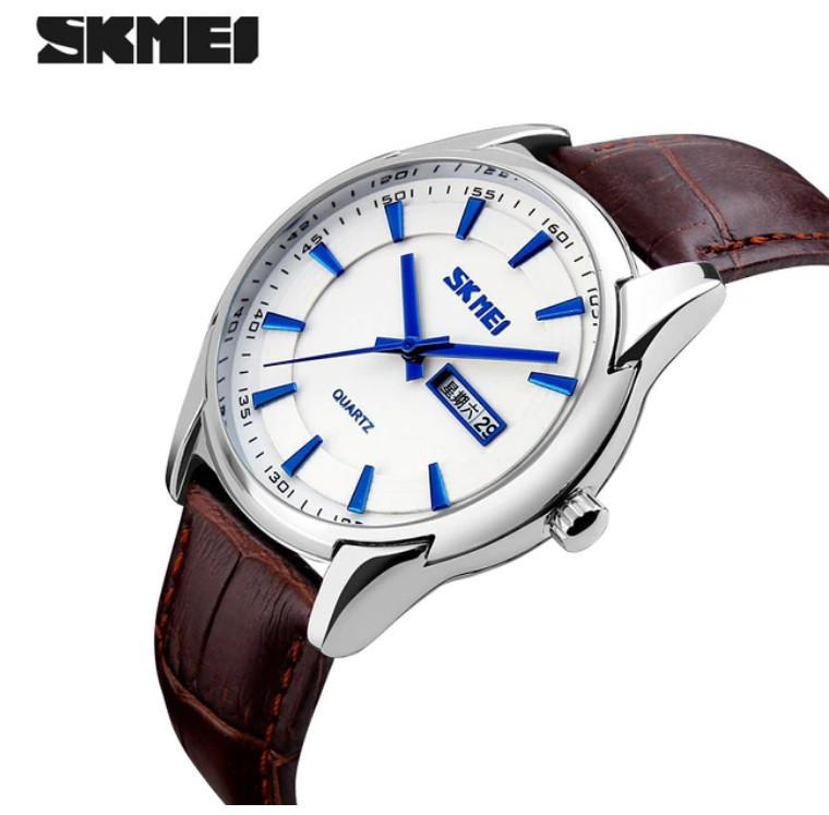 Мужские наручные часы SKMEI 9125 белый с коричневым