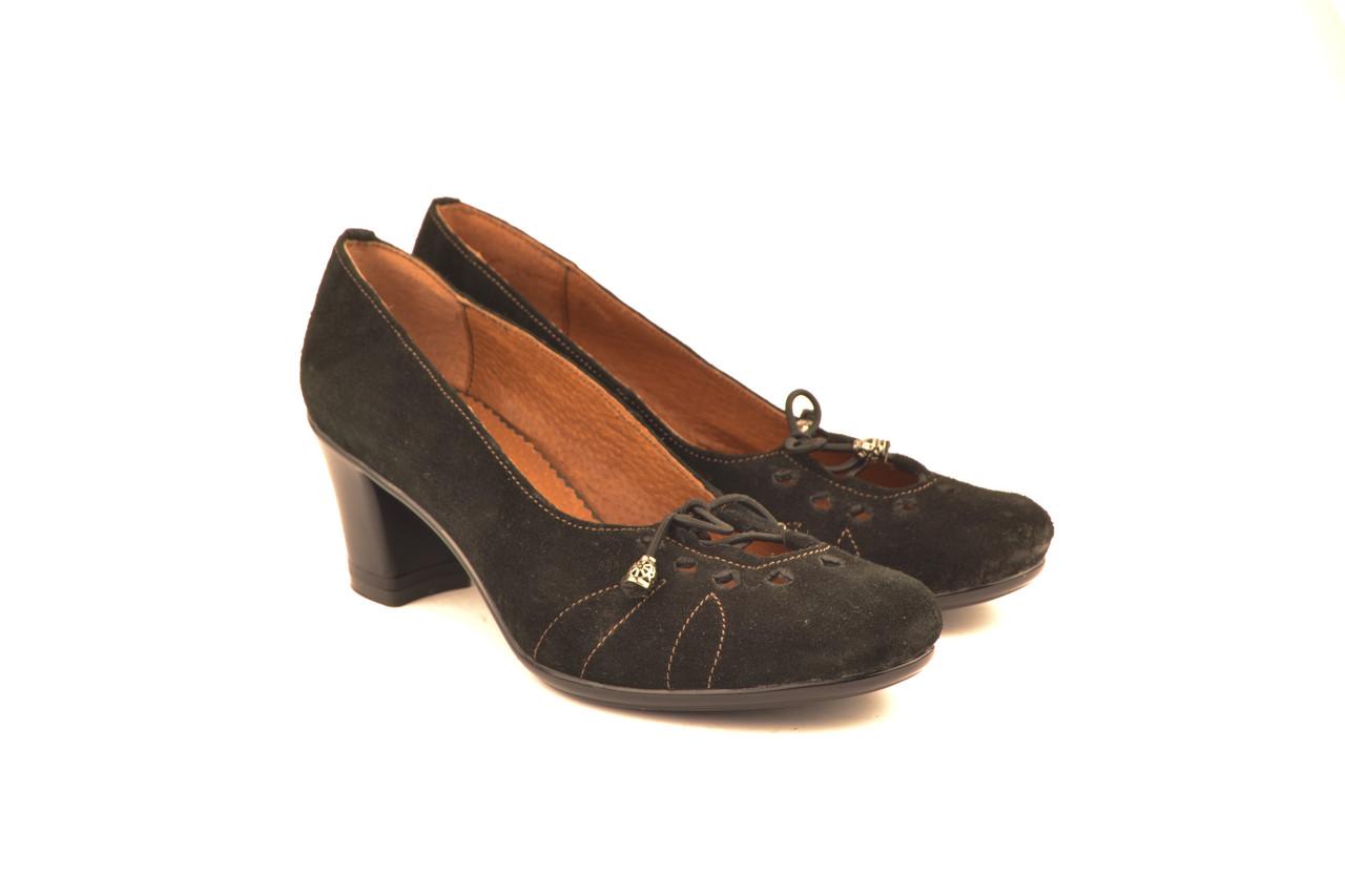 Туфли женские на каблуке из натуральной замши от производителя 336011