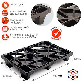 Пластиковый полуподдон  экспортный «UPAL-E» черный перфорированный 800х600х130мм