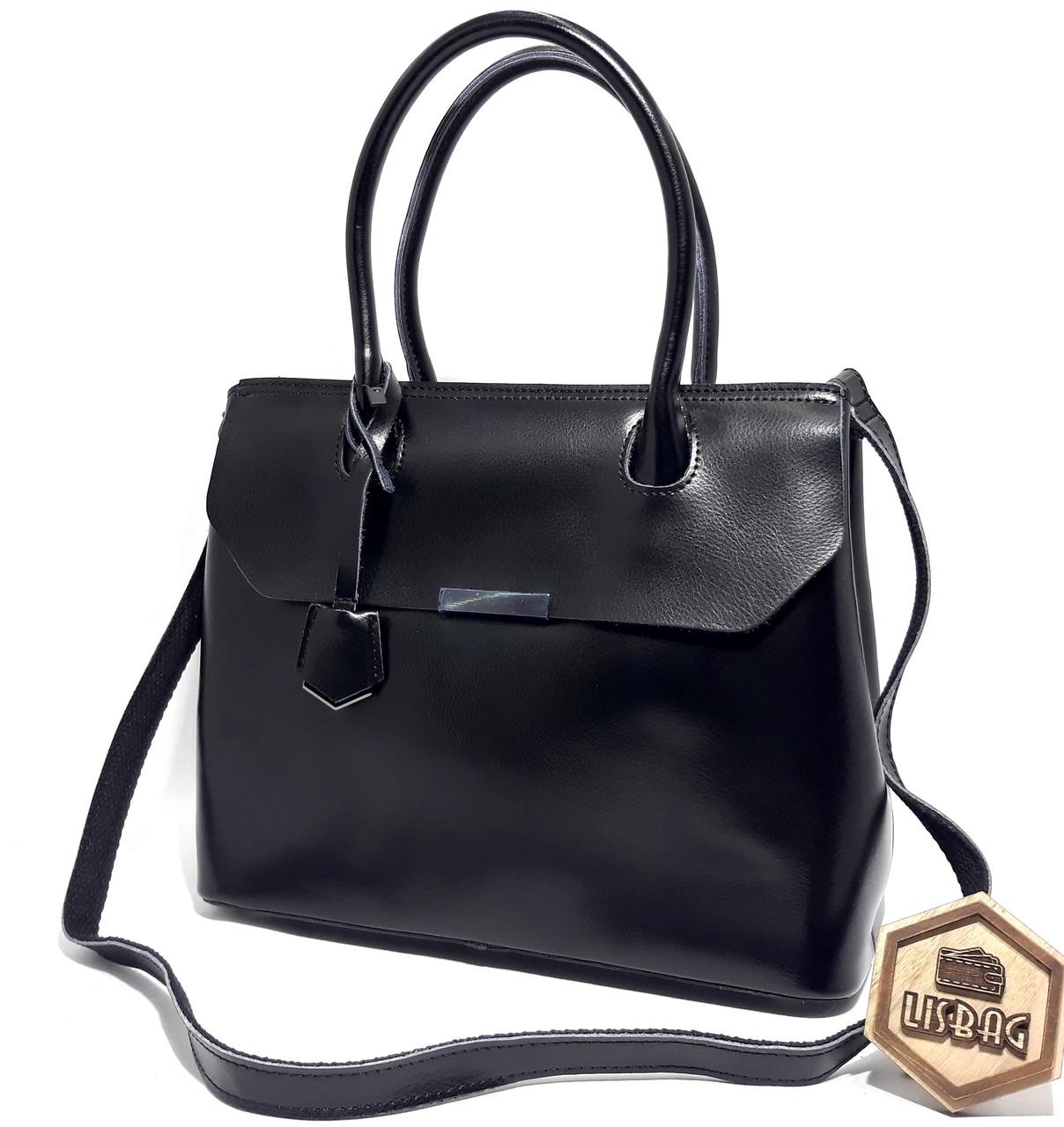 34f4717220af Большая вместительная женская сумка из натуральной плотной кожи, Черная  Galanty - Интернет магазин Lisbag в
