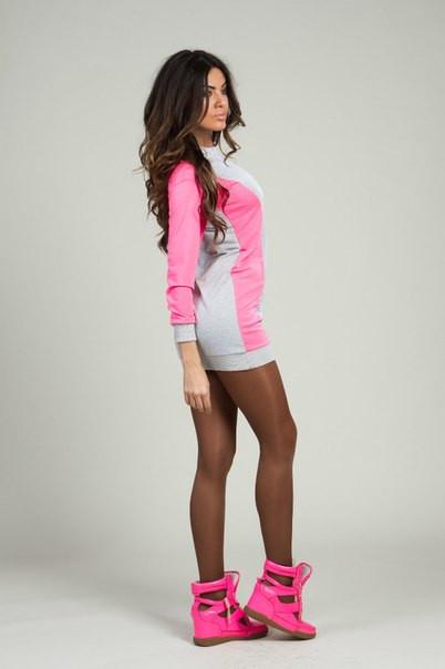 Спортивное платье серое+неон розовое и серое+неон лимон