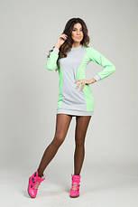 Спортивное платье серое+неон розовое и серое+неон лимон, фото 2