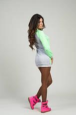 Спортивное платье серое+неон розовое и серое+неон лимон, фото 3