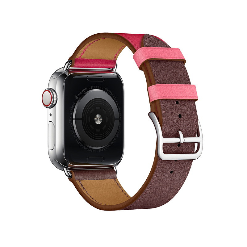 Coteetci W36 Short Fashion Leather Band For Apple Watch 38mm/40mm Bordeaux