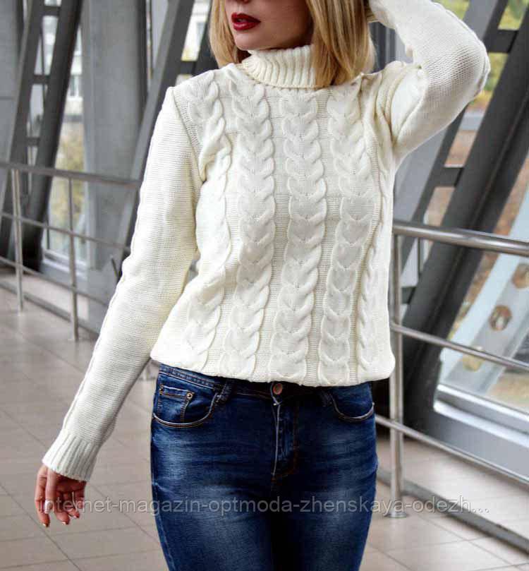Женский свитер вязанный коса