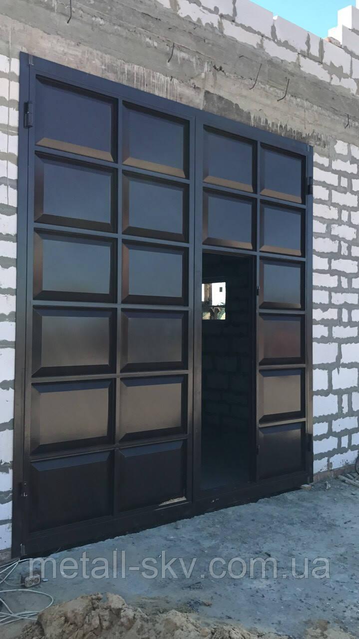 Ворота фільончасті гаражні з вбудованою хвірткою