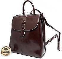 Женский кожаный рюкзак вместительного размера Galanty Коричневого цвета