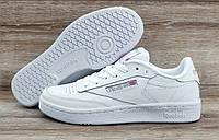 Белые детские, подростковые кроссовки Reebok Classic Club C85 Face White/Grey ТОЛЬКО 36 - стопа до 23см