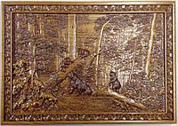 """Картина резная из дерева Шишкина """"Утро в сосновом бору"""""""