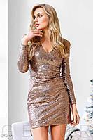 Облегающее вечернее платье с пайетками Gepur. Блестящее, расшитое пайетками  c глубоким вырезом 58c8a0d3ccc