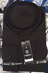 Мужская рубашка черного цета воротник стойка фирмы Florenzo