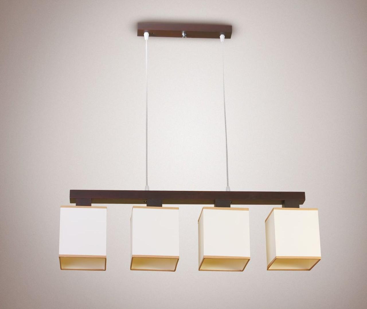 Люстра 4-х лампова, дерев'яна підстава, з абажурами для високих стель 18004