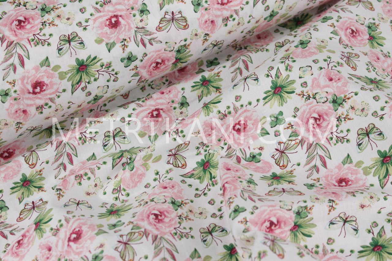 "Ткань хлопковая ""цветы с бабочками "" розово-салатовая на ..."