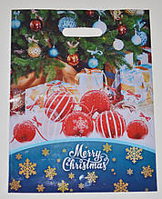Пакет новогодний ламинированный с врезной ручкой, 40х30 см / Красные шары