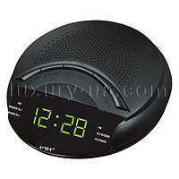 Часы сетевые 903-2 зеленые, радио FM, 220W