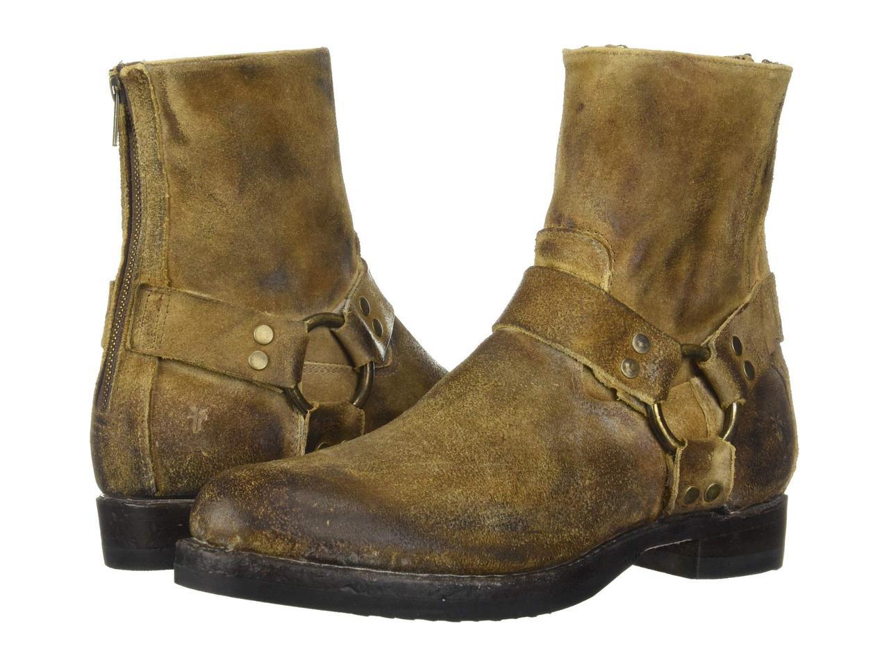 Ботинки Сапоги (Оригинал) Frye John Addison Harness Back Zip Wheat Waxed  Suede - e35b4d8fb31