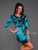 Платье с чёрным принтом бирюзовый, фото 1