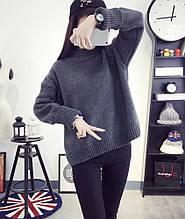 Теплий в'язаний жіночий пуловер