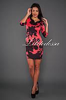 Платье с чёрным принтом красный