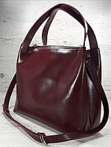 522 XL  Натуральная кожа, Сумка женская, бордовая марсала вишневая с тиснением., фото 2