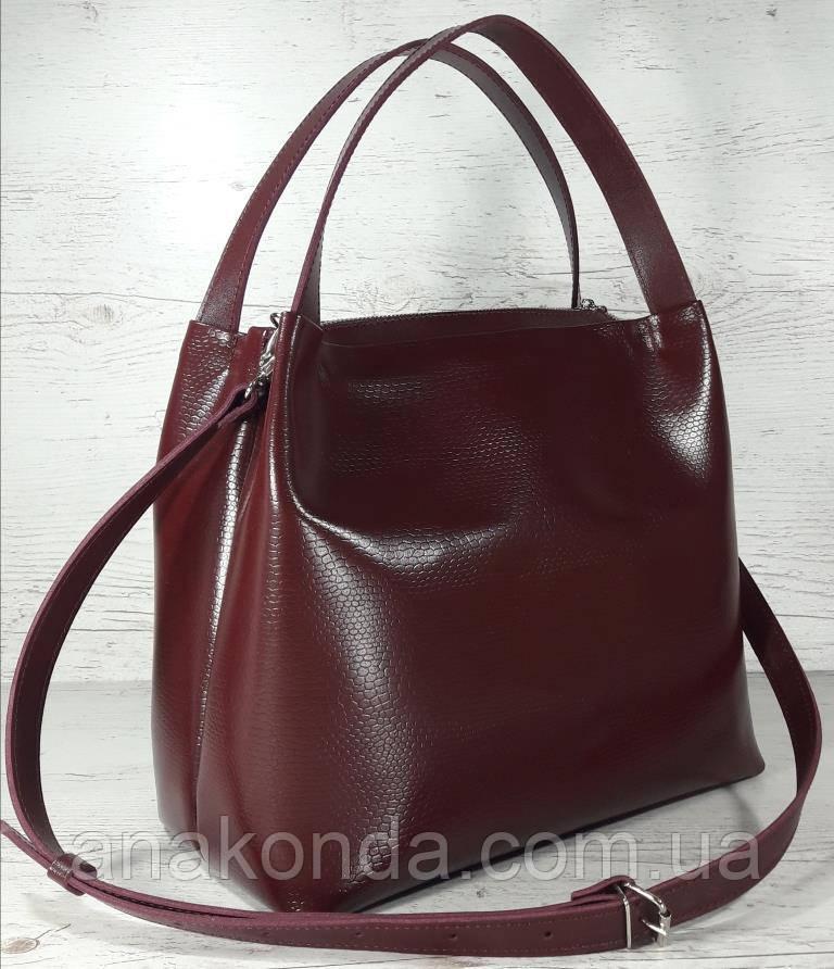 522 XL  Натуральная кожа, Сумка женская, бордовая марсала вишневая с тиснением.