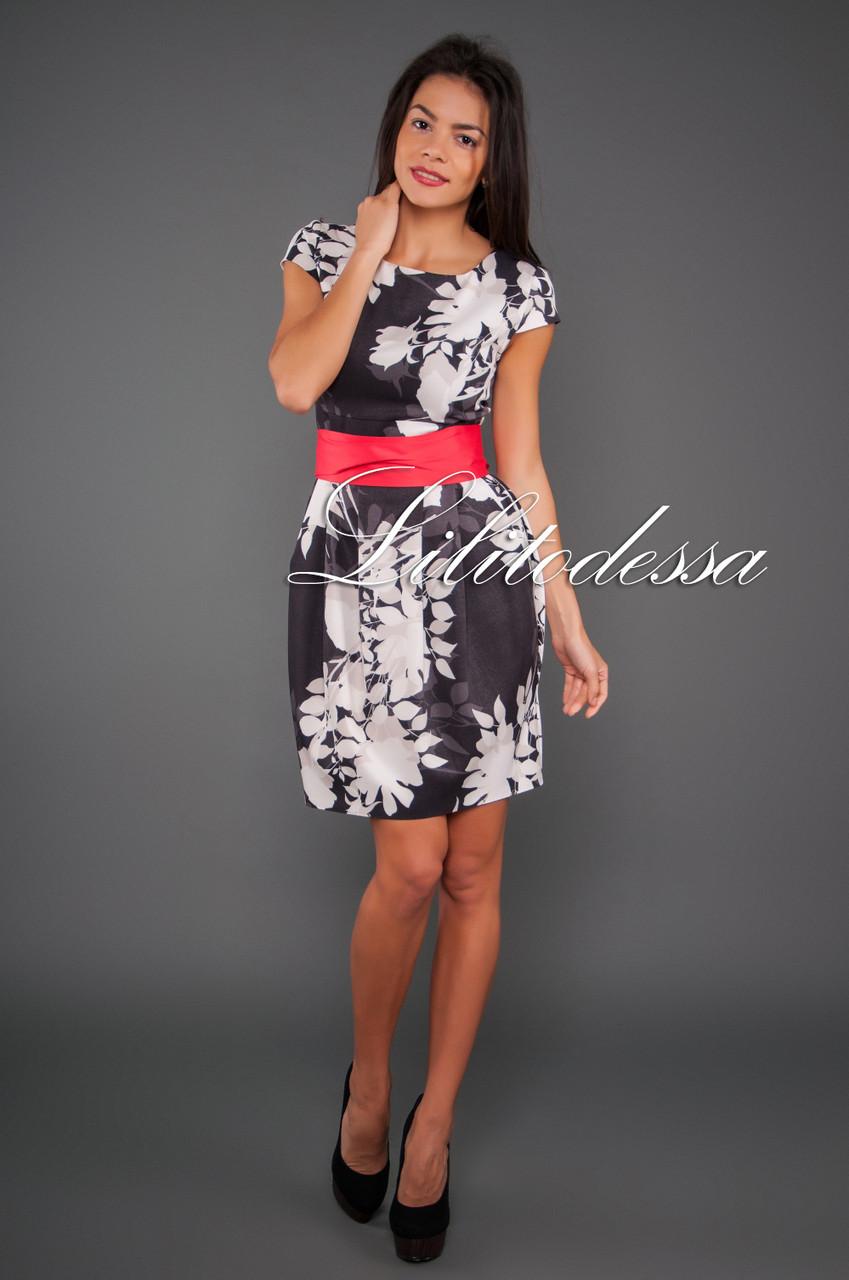 Платье с поясом черный/белый