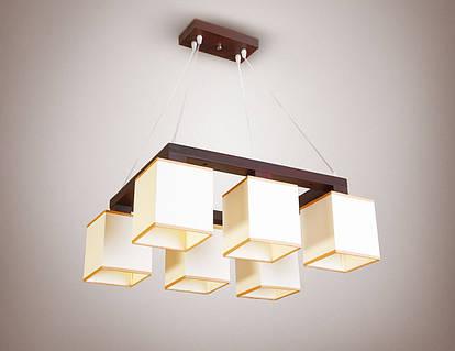 Люстра 6-ти ламповая, деревянная для зала, спальни с абажурами 18066