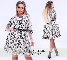Платье больших размеров от 48 до 54 с расклешенной юбкой, с принтом арт 501/1-556