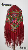 Справжня українська вовняна бордова хустка Чудові квіти, фото 2
