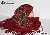 Справжня українська вовняна бордова хустка Чудові квіти, фото 3