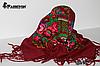 Справжня українська вовняна бордова хустка Чудові квіти, фото 4