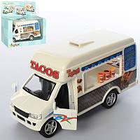 """Машинка """"Кафе на колесах"""" KS 5255 W, металл, инер-я, 12см, резин.колеса, откр.двери, в кор, 16-13,5-6,5см"""