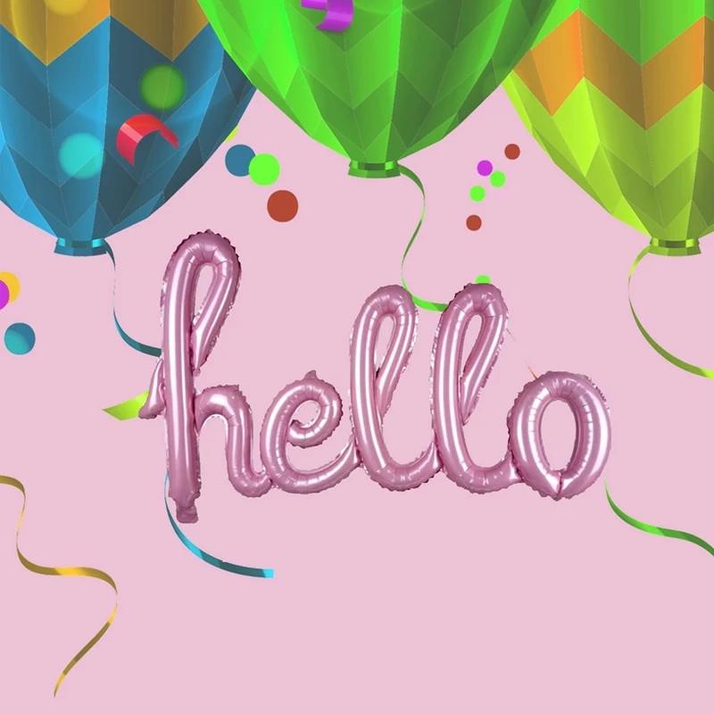 Фольгированная надпись hello, розовая, 100*55 см