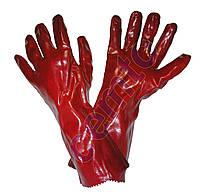 Перчатки рабочие красные МБС, КЩС, длинные 35см, покрытые поливинилхлоридом