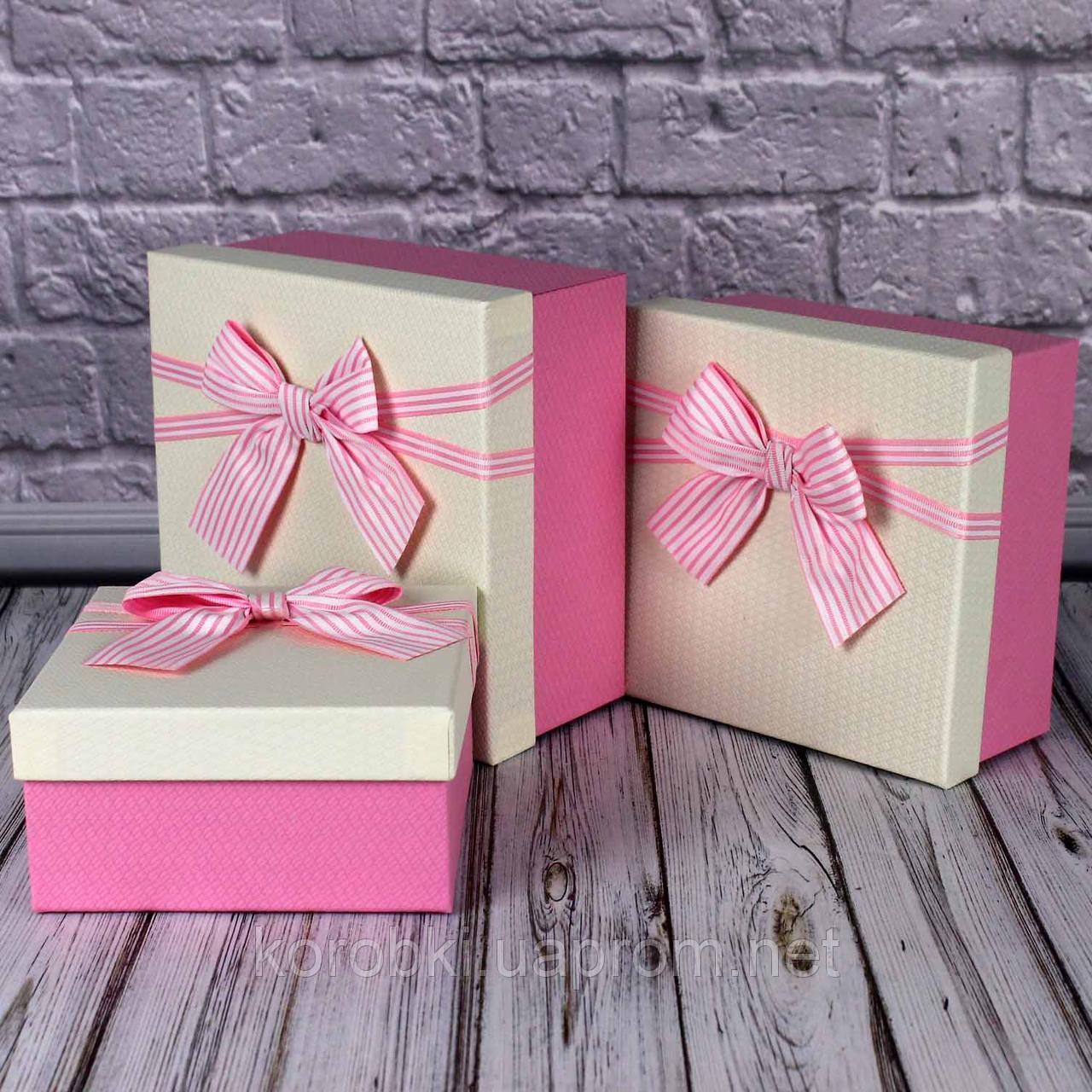 Подарочная коробка розовый бант 3 шт. в наборе