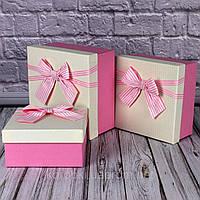 Подарочная коробка розовый бант 3 шт. в наборе, фото 1