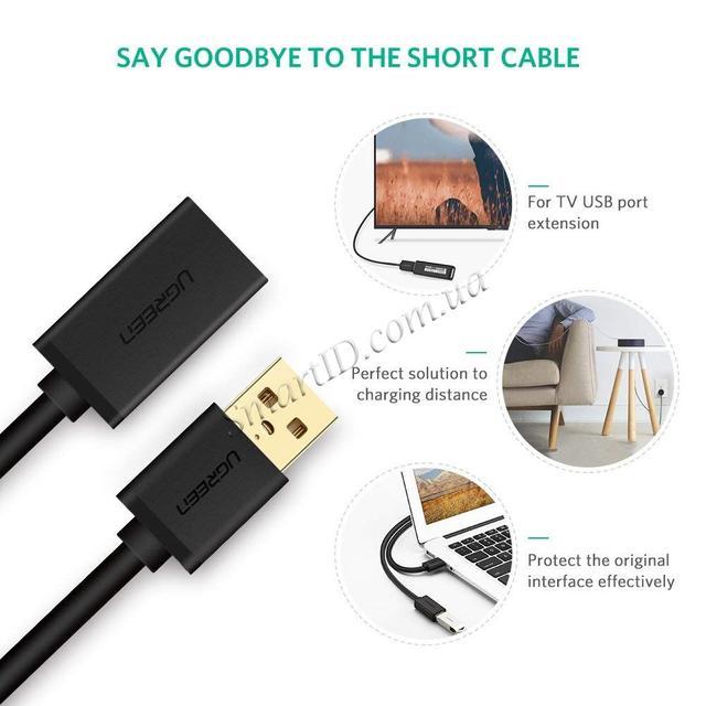 USB кабель удлинитель Ugreen USB 3.0 US129 10368 10373 30127 (AM / AF штекер - гнездо, 1м 2м 3м)