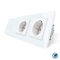 Бесконтактный выключатель с двумя розетками Livolo белый стекло (VL-C701/C7C2EU-PRO-11), фото 1