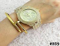Женские кварцевые наручные часы / годинник Michael Kors (реплика) золотого цвета с металическим браслетом(259)