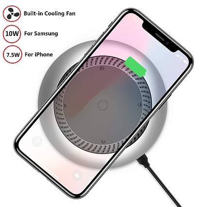 Беспроводное зарядное устройство Digi Marker Qi с охлаждающим вентилятором, фото 2