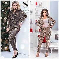 Женский леопардовый костюм пиджак с брюками Батал до 56 р 17402 cc64b91d4bb00