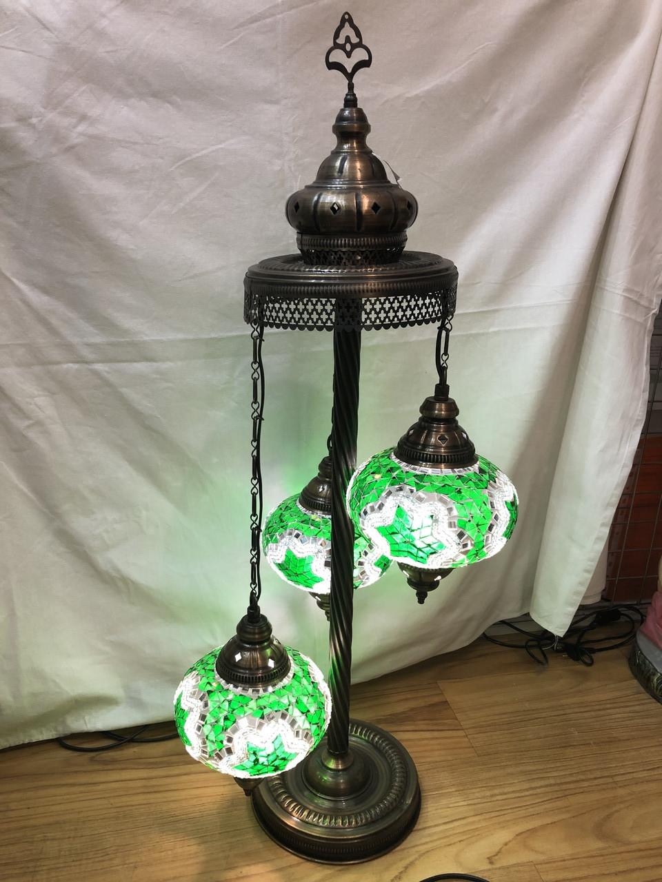 Напольный турецкий светильник  Sinan из мозаики ручной работы зеленый