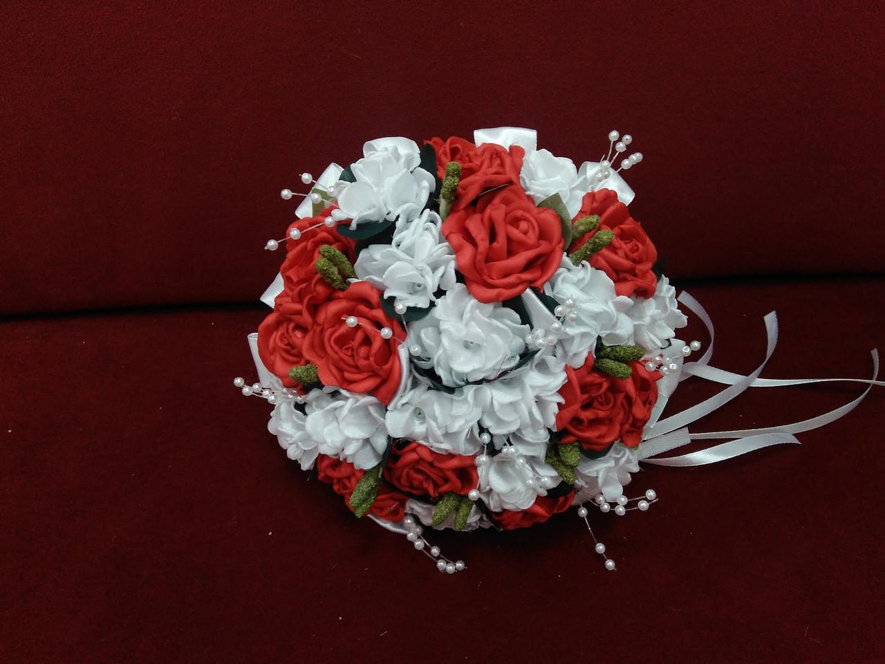 Свадебный букет-дублер белый с красным