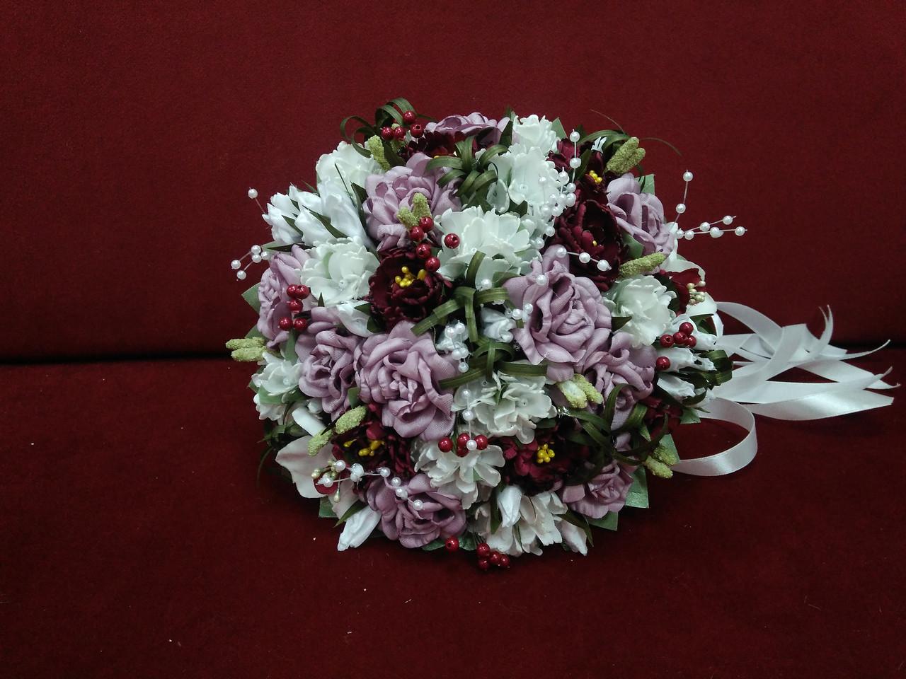 Весільний букет-дублер ліловий з айворі і бордовим