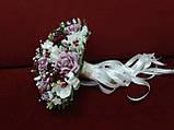 Весільний букет-дублер ліловий з айворі і бордовим, фото 2