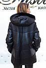 Дубленка Женская Черная Комбинированная 058МК, фото 4